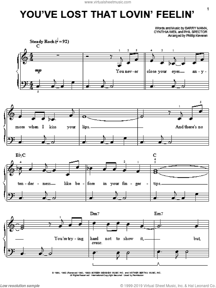 You've Lost That Lovin' Feelin' sheet music for piano solo by The Righteous Brothers, Phillip Keveren, Elvis Presley, Barry Mann, Cynthia Weil and Phil Spector, easy skill level