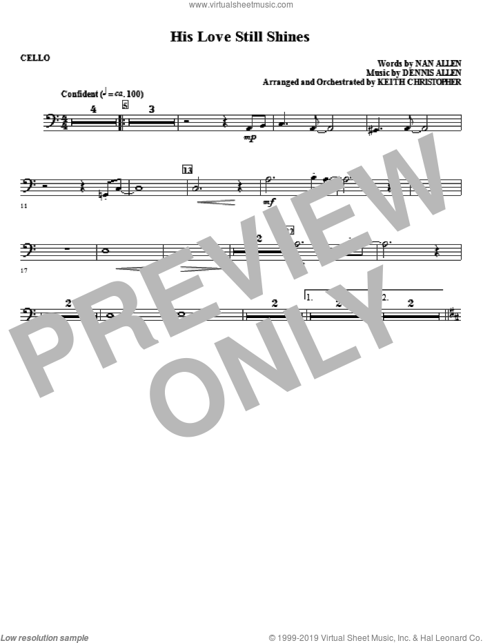 His Love Still Shines sheet music for orchestra/band (cello) by Dennis Allen