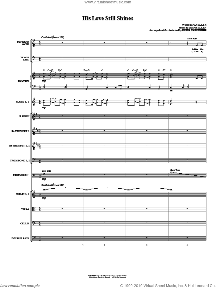 His Love Still Shines (COMPLETE) sheet music for orchestra/band (Orchestra) by Dennis Allen, Nan Allen and Keith Christopher, intermediate skill level