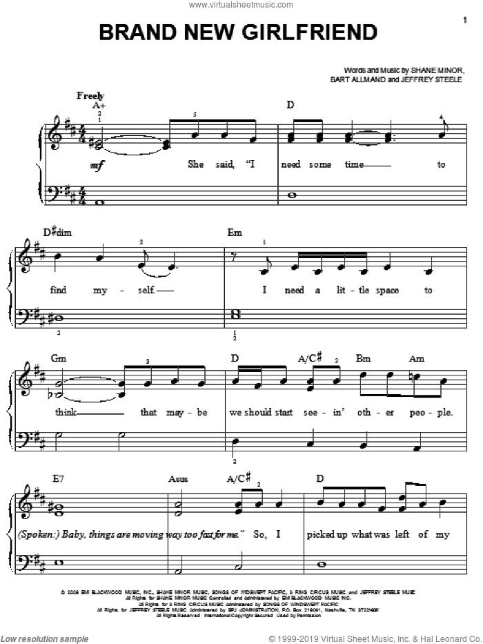 Brand New Girlfriend sheet music for piano solo by Steve Holy. Score Image Preview.