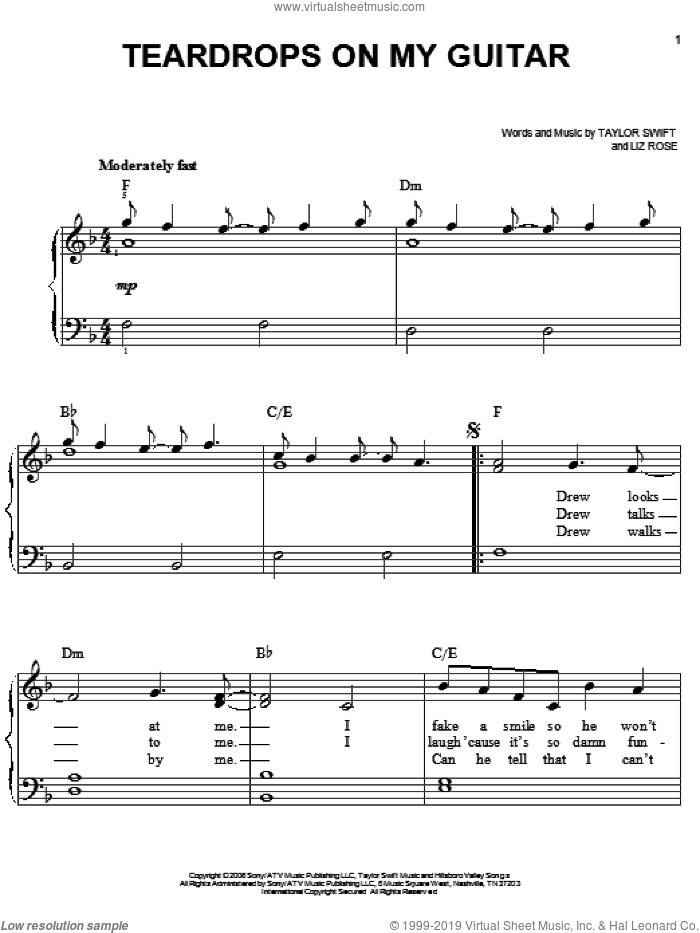 Teardrops On My Guitar sheet music for piano solo by Taylor Swift and Liz Rose, easy skill level