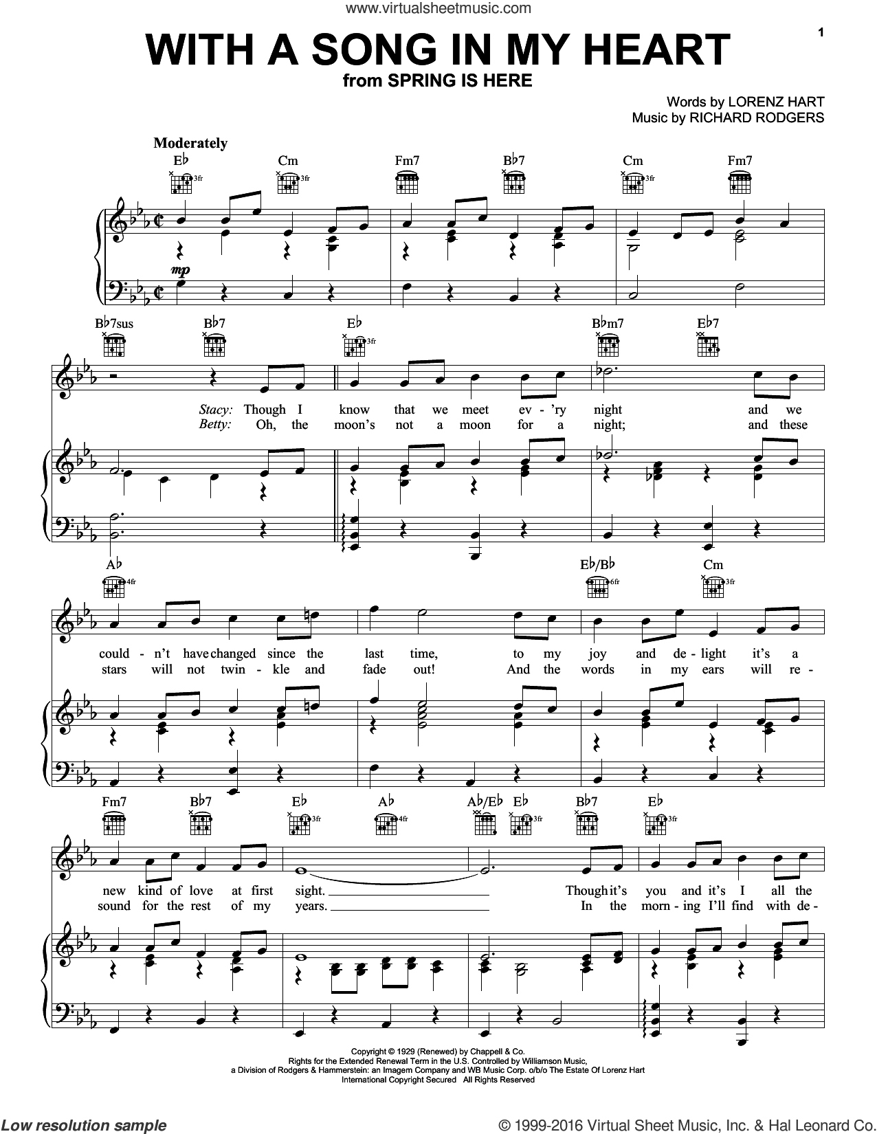 With A Song In My Heart sheet music for voice, piano or guitar by Rodgers & Hart, Lorenz Hart and Richard Rodgers, intermediate skill level