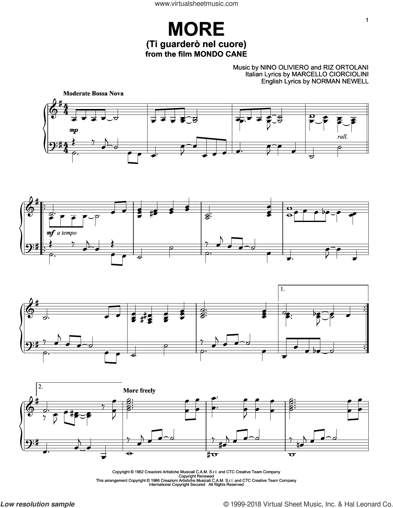 More (Ti Guardero Nel Cuore) sheet music for piano solo by Marcello Ciorciolini, Nino Oliviero, Norman Newell and Riz Ortolani, intermediate skill level