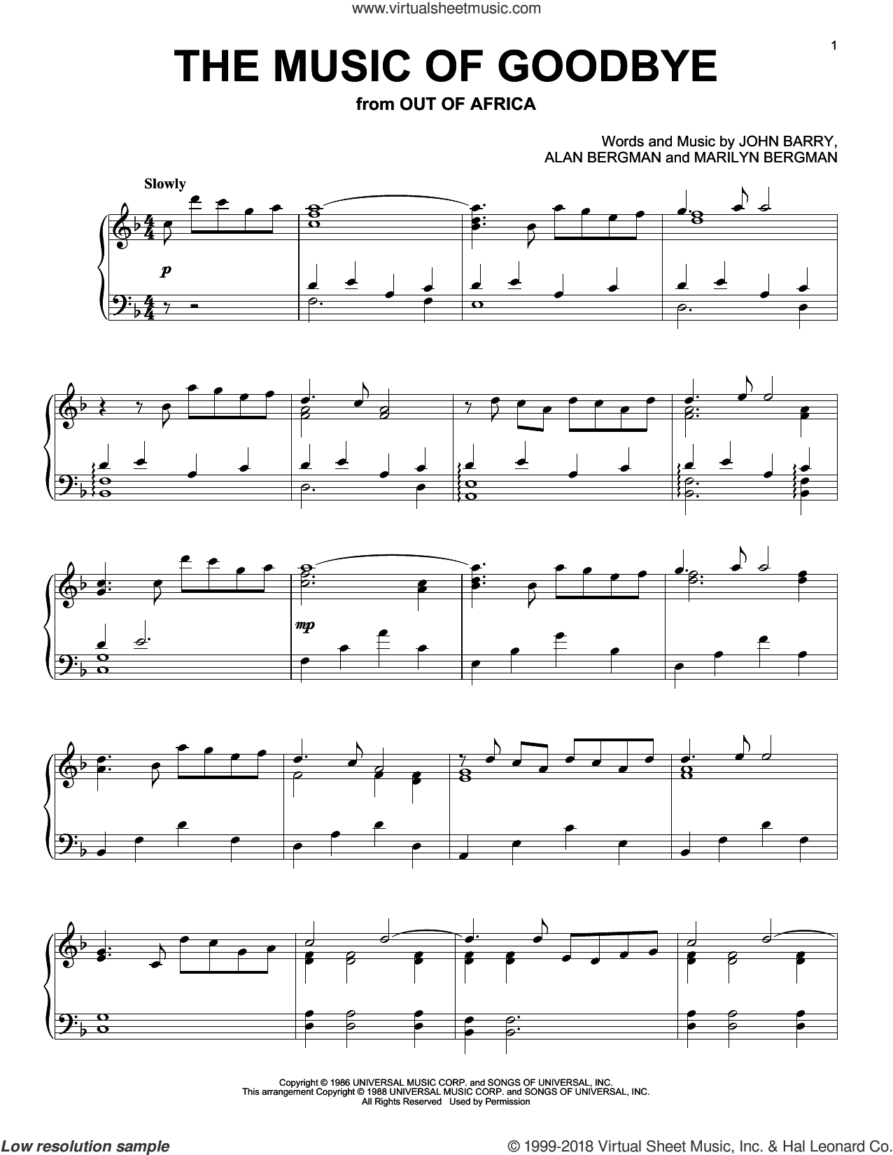 The Music Of Goodbye sheet music for piano solo by John Barry, Alan Bergman and Marilyn Bergman, intermediate skill level