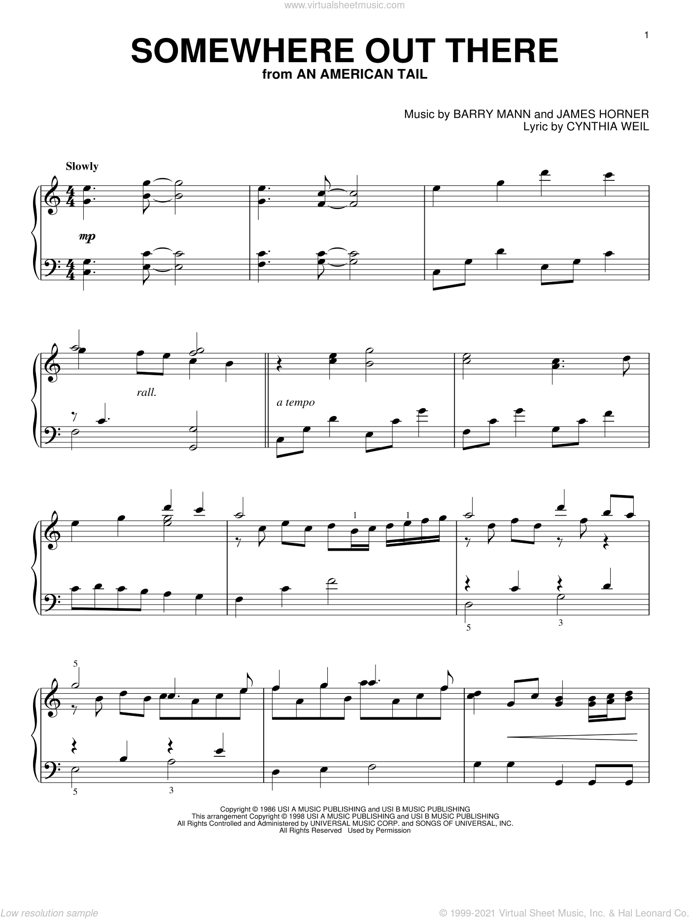 Somewhere Out There sheet music for piano solo by Cynthia Weil