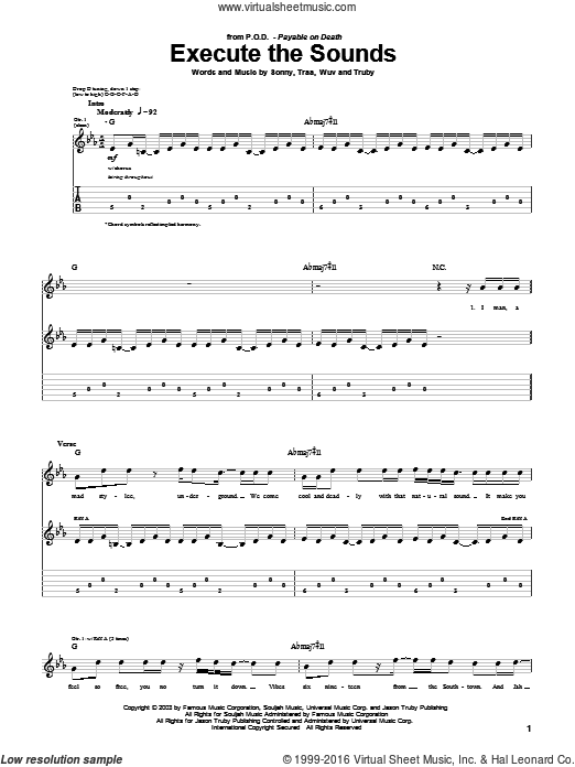 Execute The Sounds sheet music for guitar (tablature) by P.O.D.. Score Image Preview.