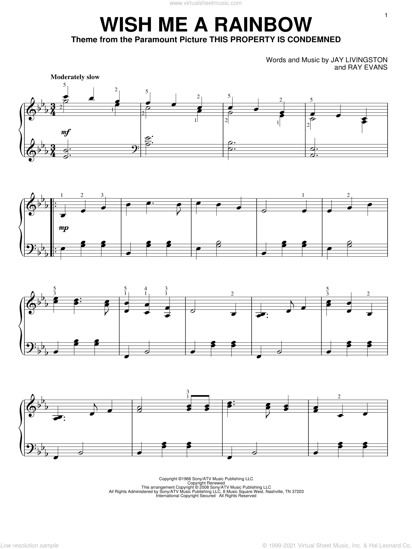 Wish Me A Rainbow sheet music for piano solo by Jay Livingston and Ray Evans, intermediate skill level