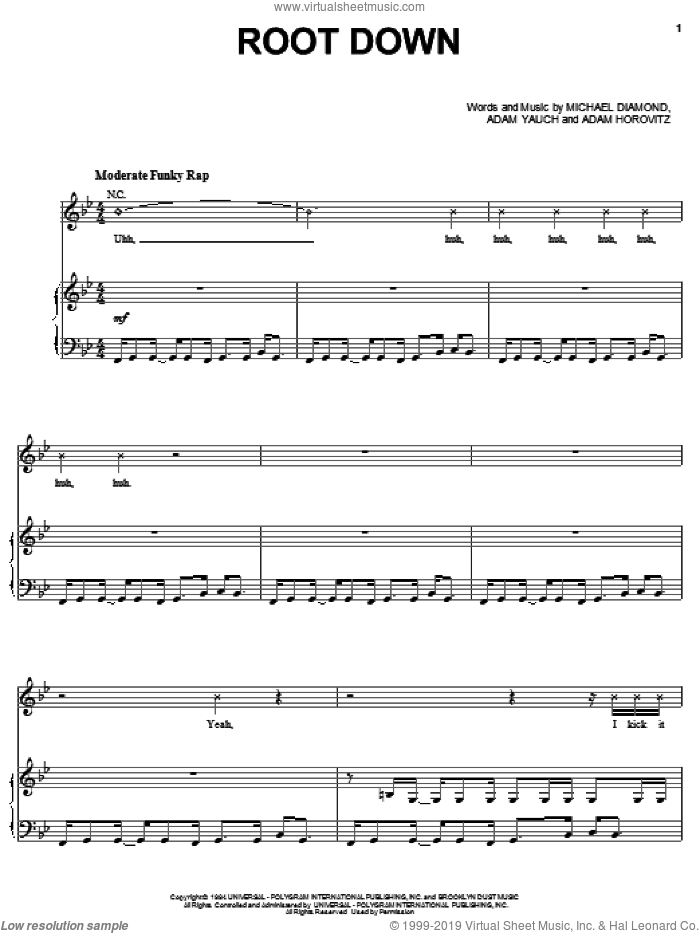 Root Down sheet music for voice, piano or guitar by Beastie Boys, Adam Horovitz, Adam Yauch and Michael Diamond, intermediate. Score Image Preview.