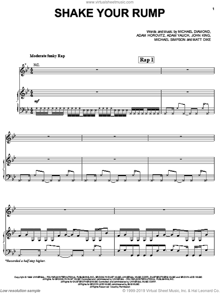 Shake Your Rump sheet music for voice, piano or guitar by Beastie Boys, intermediate