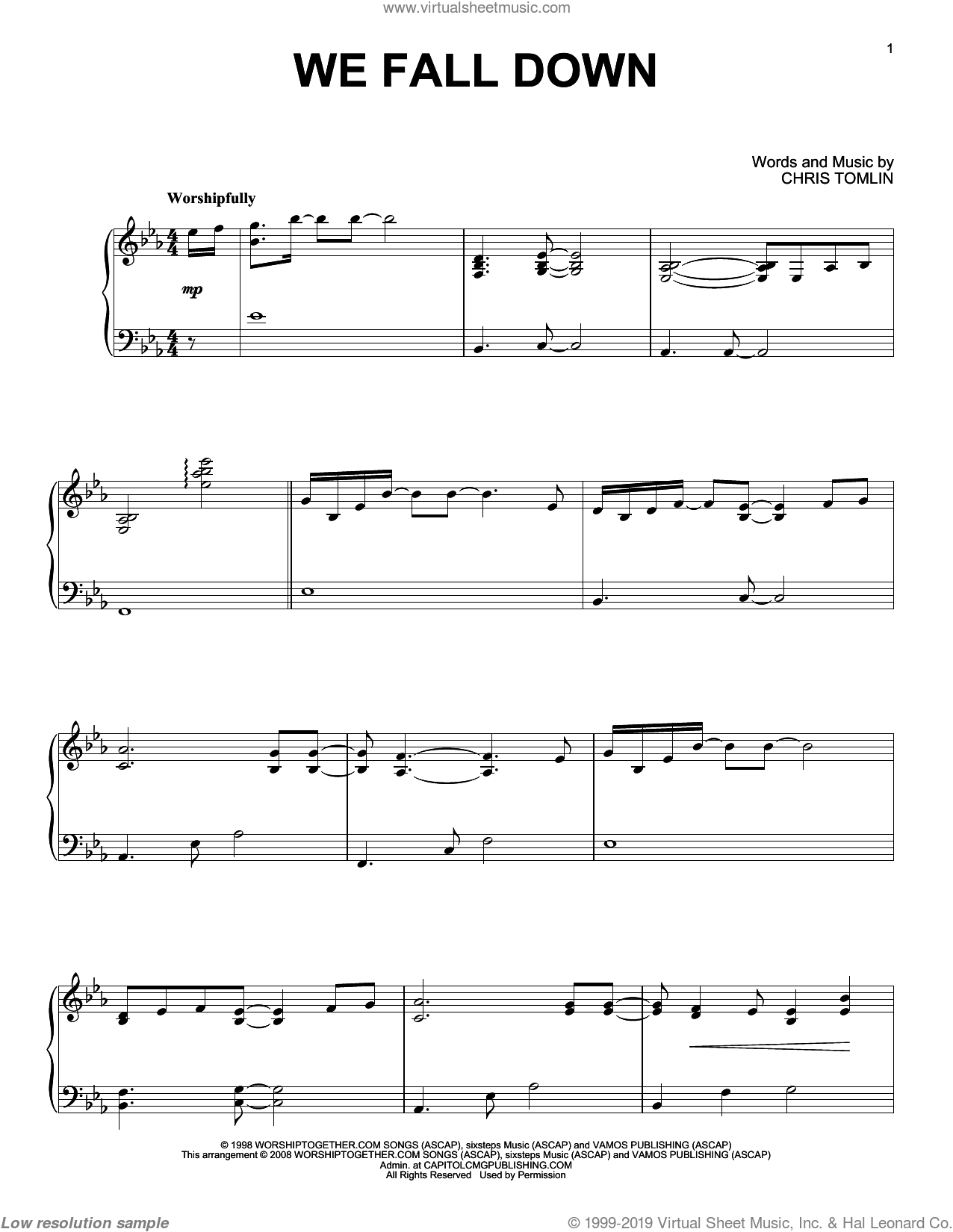 We Fall Down sheet music for piano solo by Chris Tomlin and Kutless, intermediate skill level