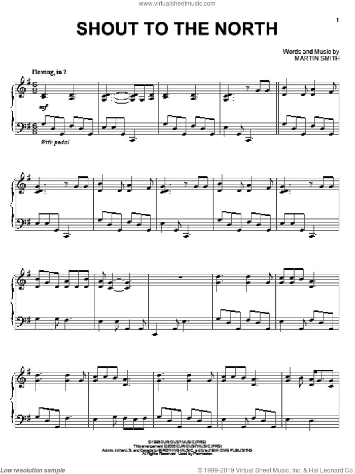 Shout To The North, (intermediate) sheet music for piano solo by Delirious? and Martin Smith, intermediate skill level