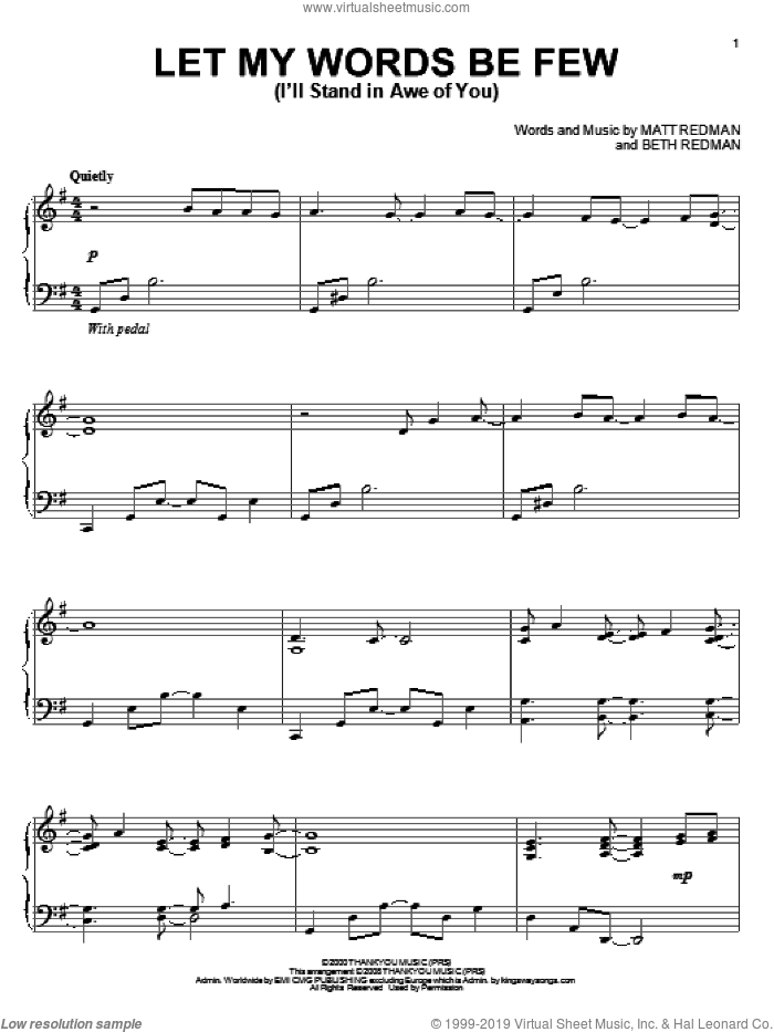 Let My Words Be Few (I'll Stand In Awe Of You) sheet music for piano solo by Matt Redman and Beth Redman, intermediate skill level