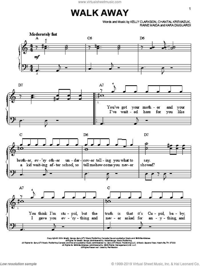 Walk Away sheet music for piano solo by Raine Maida