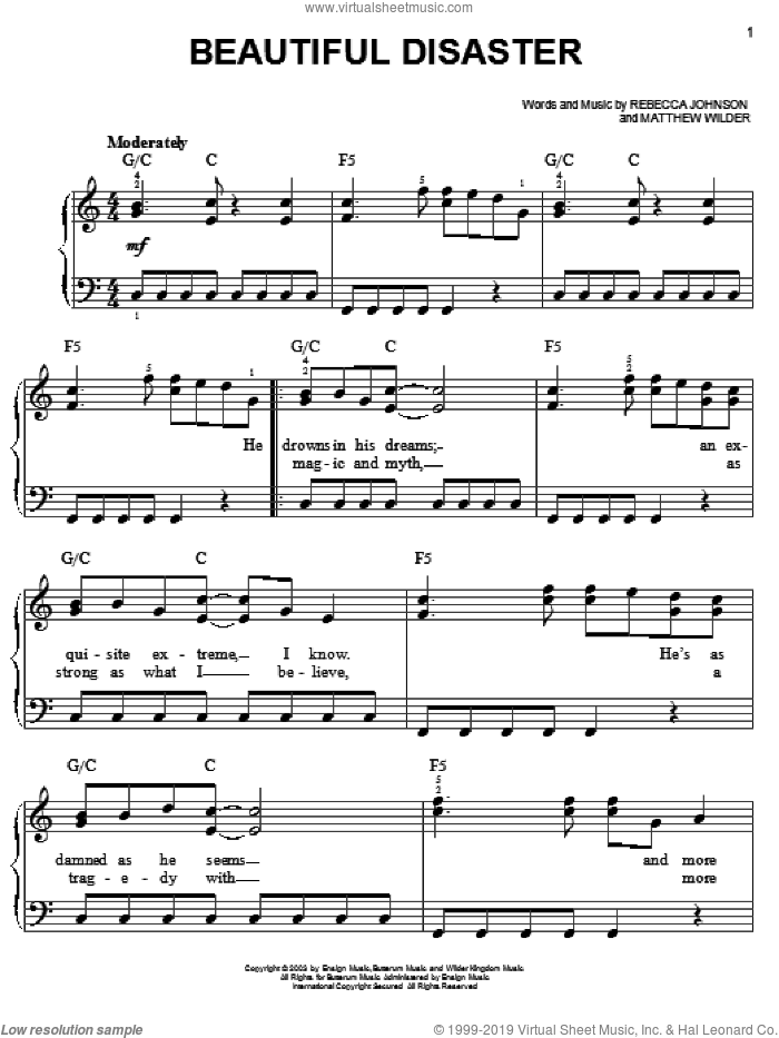 Beautiful Disaster sheet music for piano solo by Kelly Clarkson, Matthew Wilder and Rebecca Johnson, easy skill level