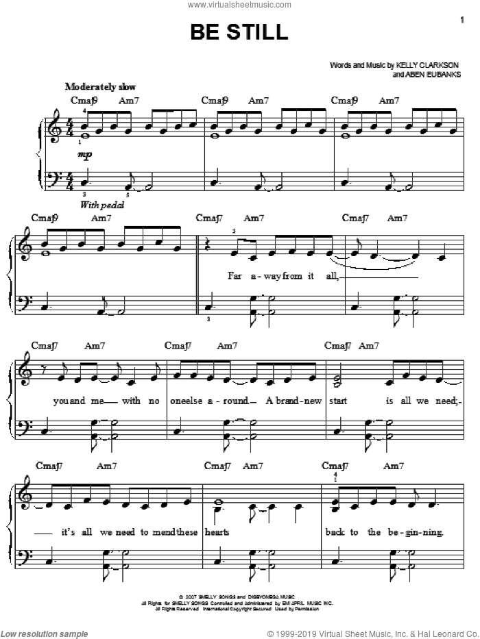 Be Still sheet music for piano solo by Kelly Clarkson and Aben Eubanks, easy skill level
