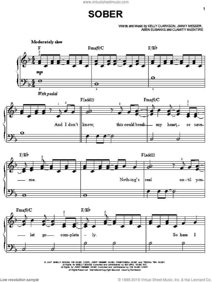 Sober sheet music for piano solo by Jimmy Messer, Aben Eubanks and Kelly Clarkson. Score Image Preview.
