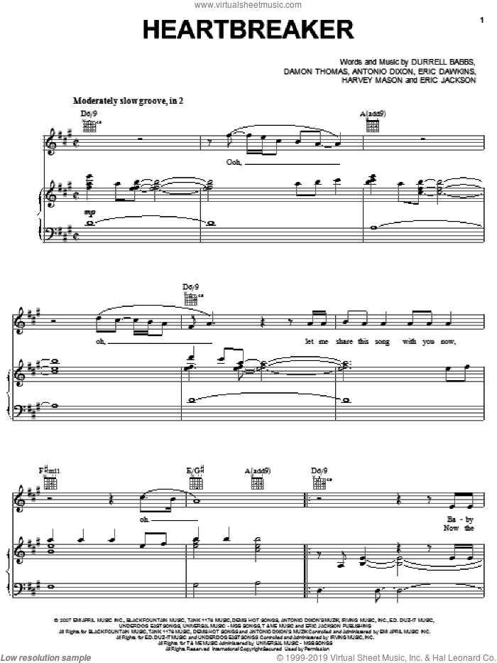 Heartbreaker sheet music for voice, piano or guitar by Harvey Mason, Antonio Dixon and Damon Thomas. Score Image Preview.
