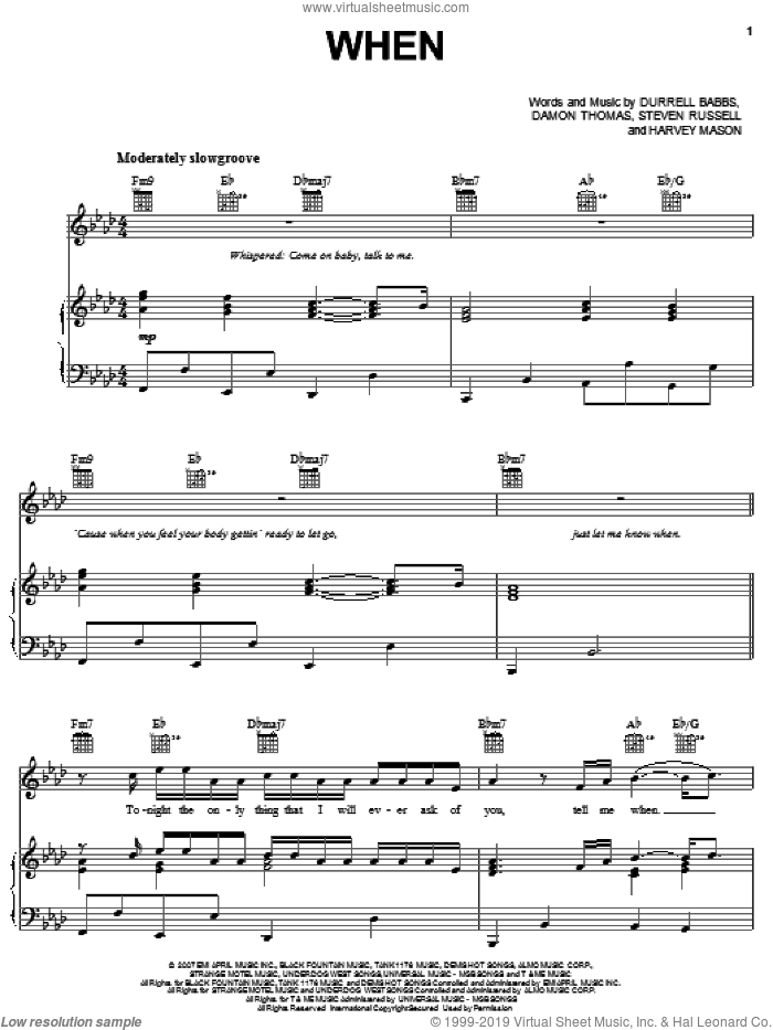 When sheet music for voice, piano or guitar by Steven Russell, Damon Thomas and Harvey Mason. Score Image Preview.