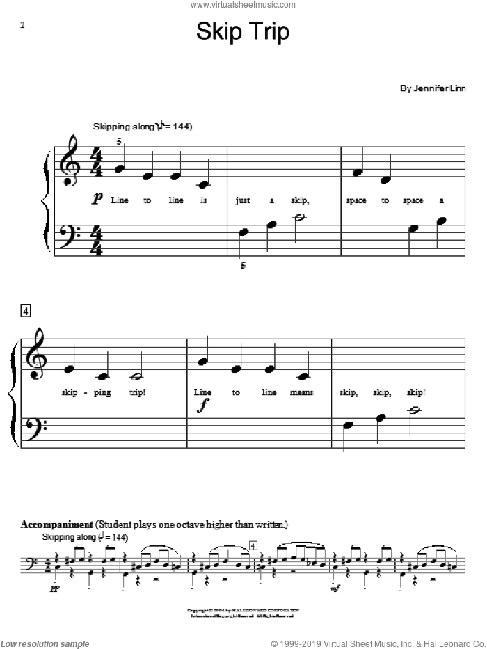 Skip Trip sheet music for piano solo (elementary) by Jennifer Linn and Miscellaneous, beginner piano (elementary)