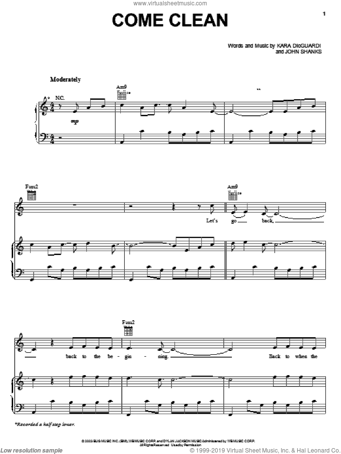 Come Clean sheet music for voice, piano or guitar by John Shanks