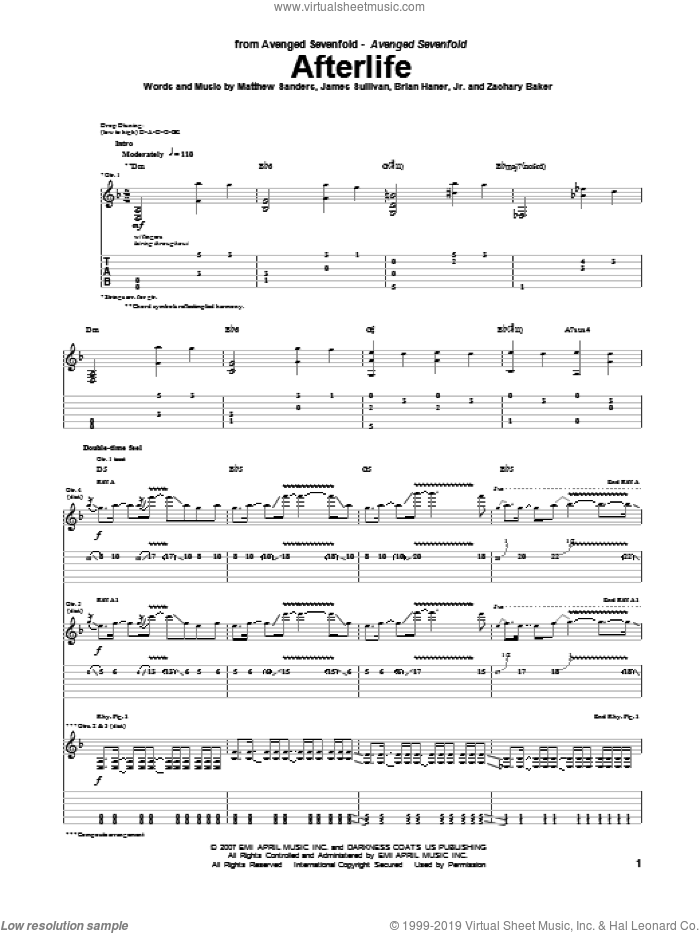 Afterlife sheet music for guitar (tablature) by Zachary Baker