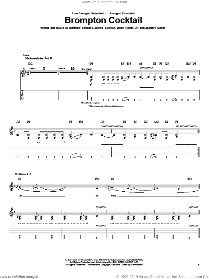 Brompton Cocktail sheet music for guitar (tablature) by Zachary Baker and Avenged Sevenfold. Score Image Preview.