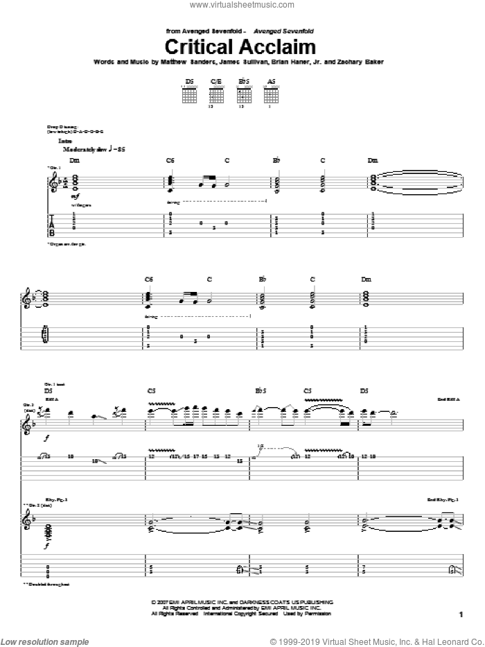 Critical Acclaim sheet music for guitar (tablature) by Avenged Sevenfold, Brian Haner, Jr., James Sullivan, Matthew Sanders and Zachary Baker, intermediate skill level