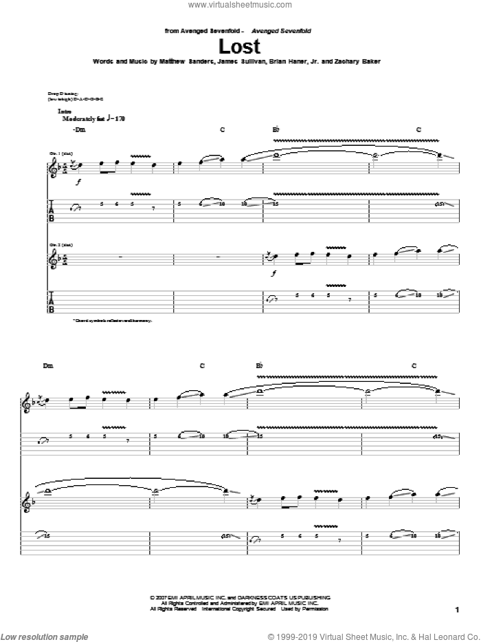 Lost sheet music for guitar (tablature) by Zachary Baker and Avenged Sevenfold. Score Image Preview.