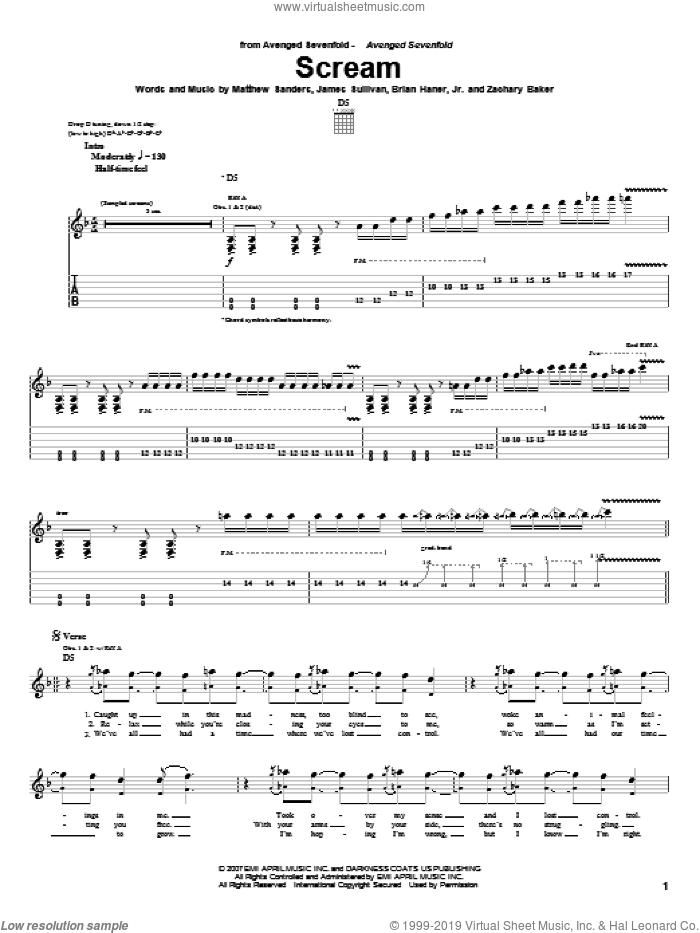 Scream sheet music for guitar (tablature) by Avenged Sevenfold, Brian Haner, Jr., James Sullivan, Matthew Sanders and Zachary Baker, intermediate skill level