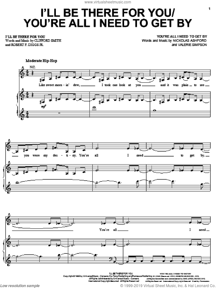 I'll Be There For You sheet music for voice, piano or guitar by Mary J. Blige, Method Man, Clifford Smith and Robert F. Diggs Jr., intermediate skill level