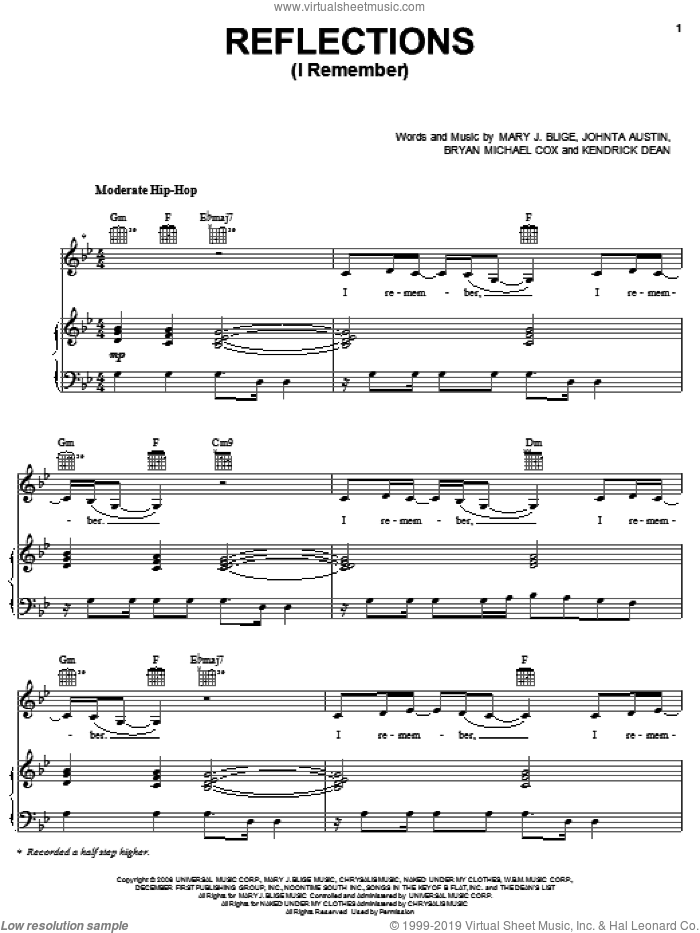 Reflections (I Remember) sheet music for voice, piano or guitar by Mary J. Blige, Bryan Michael Cox, Johnta Austin and Kendrick Dean, intermediate. Score Image Preview.