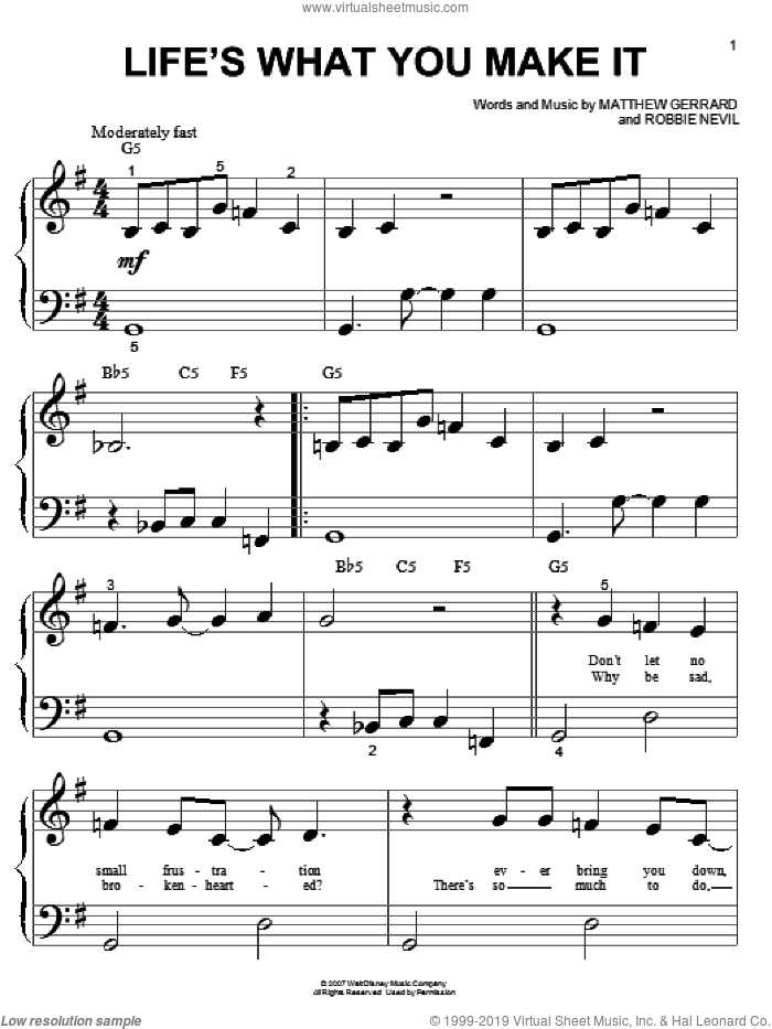 Life's What You Make It sheet music for piano solo (big note book) by Robbie Nevil, Hannah Montana, Miley Cyrus and Matthew Gerrard. Score Image Preview.