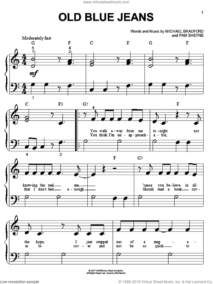 Old Blue Jeans sheet music for piano solo (big note book) by Pam Sheyne, Hannah Montana, Miley Cyrus and Michael Bradford