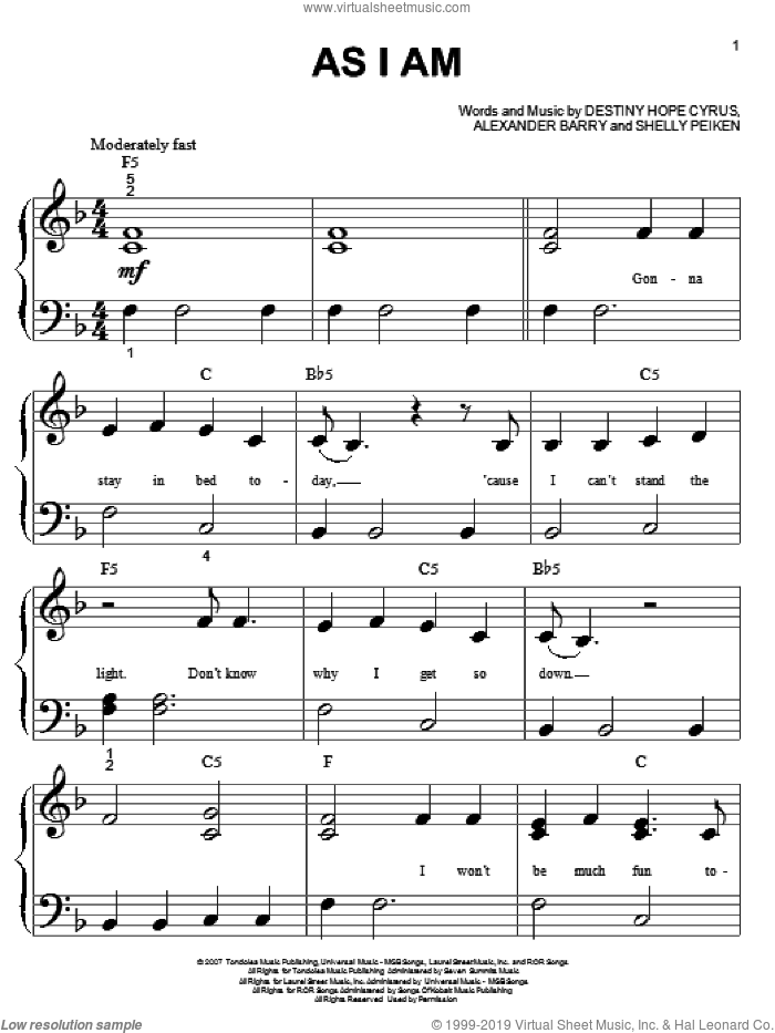 As I Am sheet music for piano solo (big note book) by Hannah Montana, Miley Cyrus, Alexander Barry, Destiny Hope Cyrus and Shelly Peiken, easy piano (big note book)
