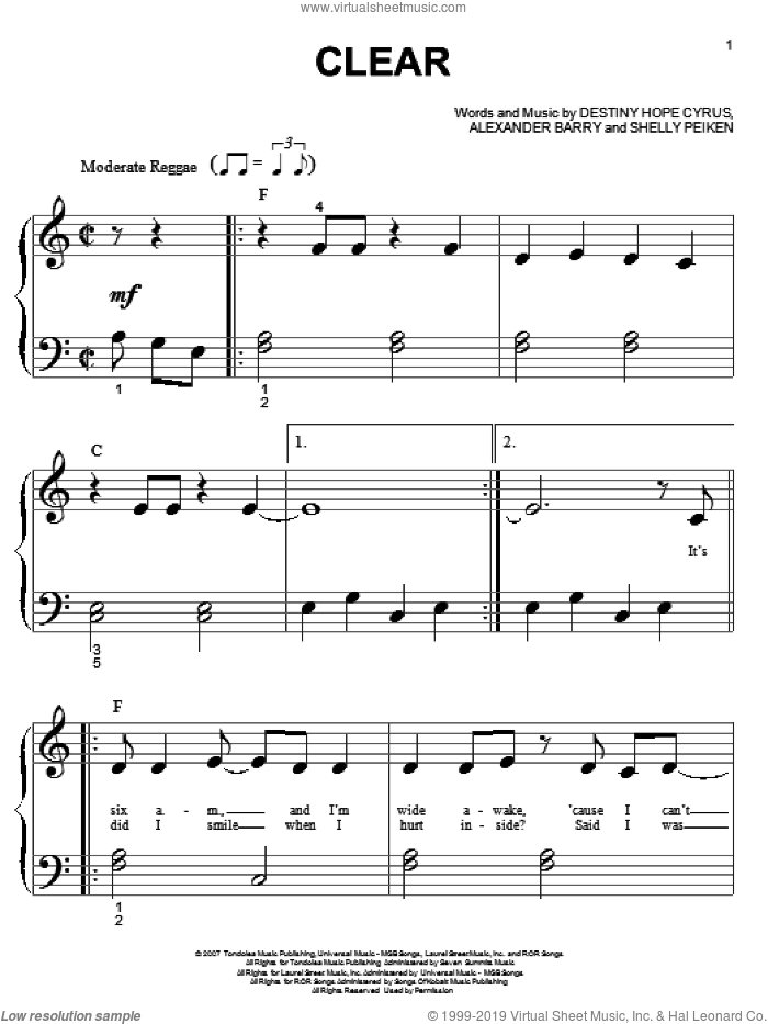 Clear sheet music for piano solo (big note book) by Shelly Peiken, Hannah Montana, Miley Cyrus and Alexander Barry
