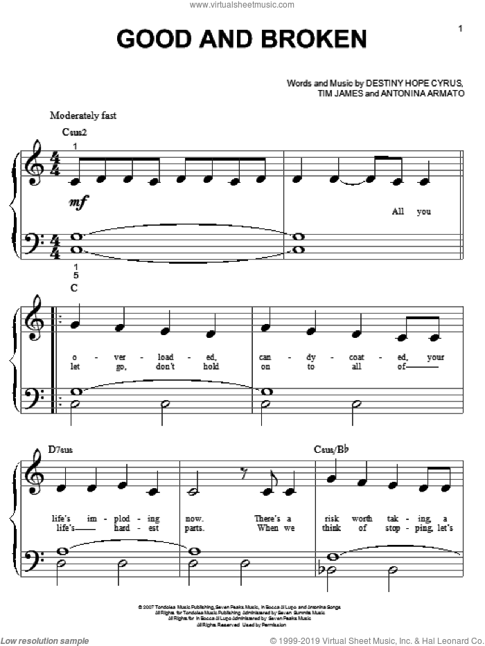 Good And Broken sheet music for piano solo (big note book) by Hannah Montana, Miley Cyrus, Antonina Armato, Destiny Hope Cyrus and Tim James, easy piano (big note book)