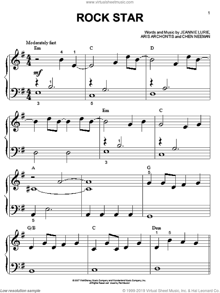 Rock Star sheet music for piano solo (big note book) by Hannah Montana, Miley Cyrus, Chen Neeman and Jeannie Lurie, easy piano (big note book). Score Image Preview.