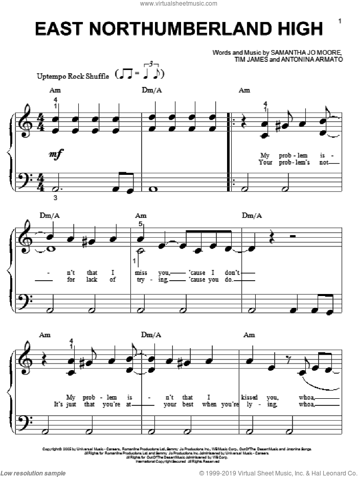 East Northumberland High sheet music for piano solo (big note book) by Tim James, Hannah Montana, Miley Cyrus and Antonina Armato. Score Image Preview.