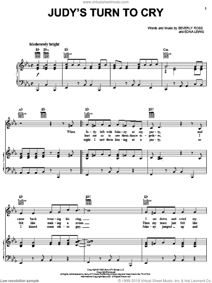 Judy's Turn To Cry sheet music for voice, piano or guitar by Lesley Gore, Beverly Ross and Edna Lewis, intermediate skill level