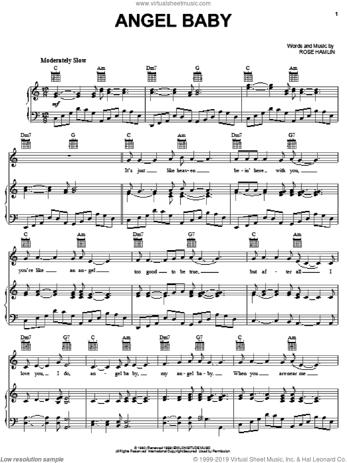 Angel Baby sheet music for voice, piano or guitar by Rosie & The Originals, intermediate voice, piano or guitar. Score Image Preview.