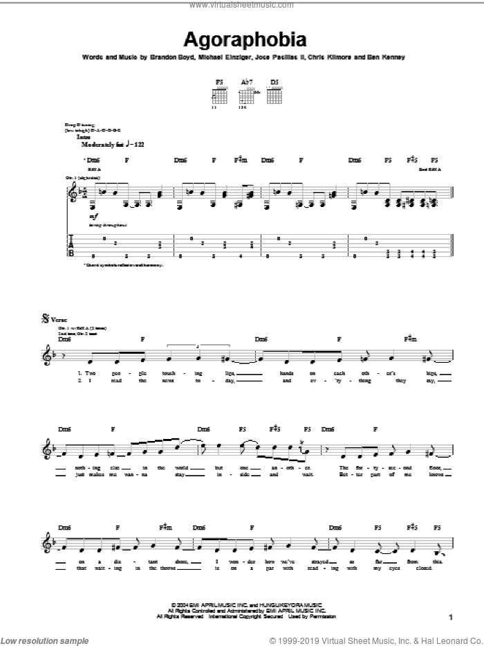 Agoraphobia sheet music for guitar (tablature) by Incubus, Brandon Boyd, Jose Pasillas II and Michael Einziger, intermediate skill level