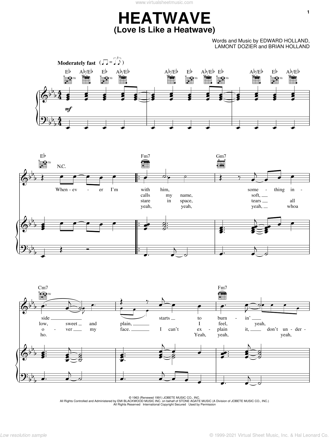 Heatwave (Love Is Like A Heatwave) sheet music for voice, piano or guitar by Martha & The Vandellas, Brian Holland, Eddie Holland and Lamont Dozier, intermediate skill level