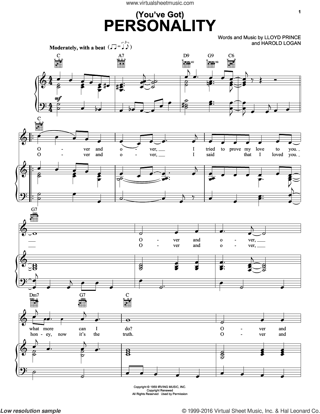 (You've Got) Personality sheet music for voice, piano or guitar by Harold Logan