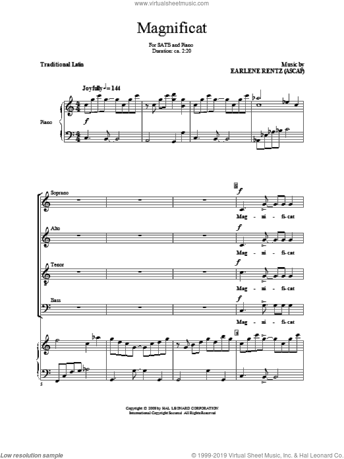 Magnificat sheet music for choir (SATB) by Earlene Rentz. Score Image Preview.