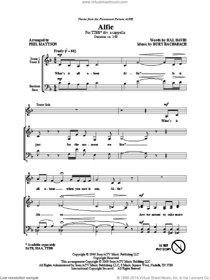 Alfie sheet music for choir (TTBB: tenor, bass) by Burt Bacharach, Hal David and Phil Mattson, intermediate skill level
