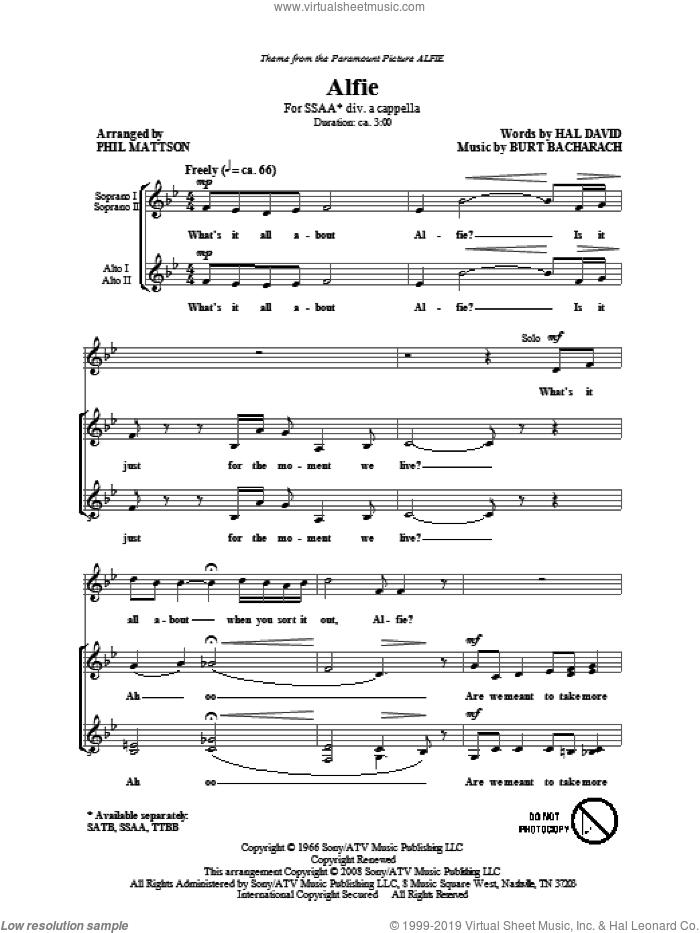 Alfie sheet music for choir (SSA: soprano, alto) by Burt Bacharach, Hal David and Phil Mattson, intermediate skill level