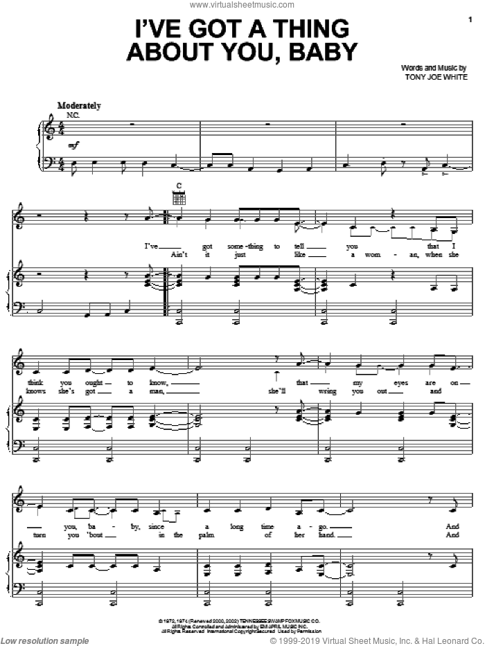 I've Got A Thing About You, Baby sheet music for voice, piano or guitar by Tony Joe White and Elvis Presley. Score Image Preview.
