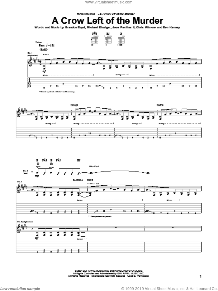 A Crow Left Of The Murder sheet music for guitar (tablature) by Michael Einziger