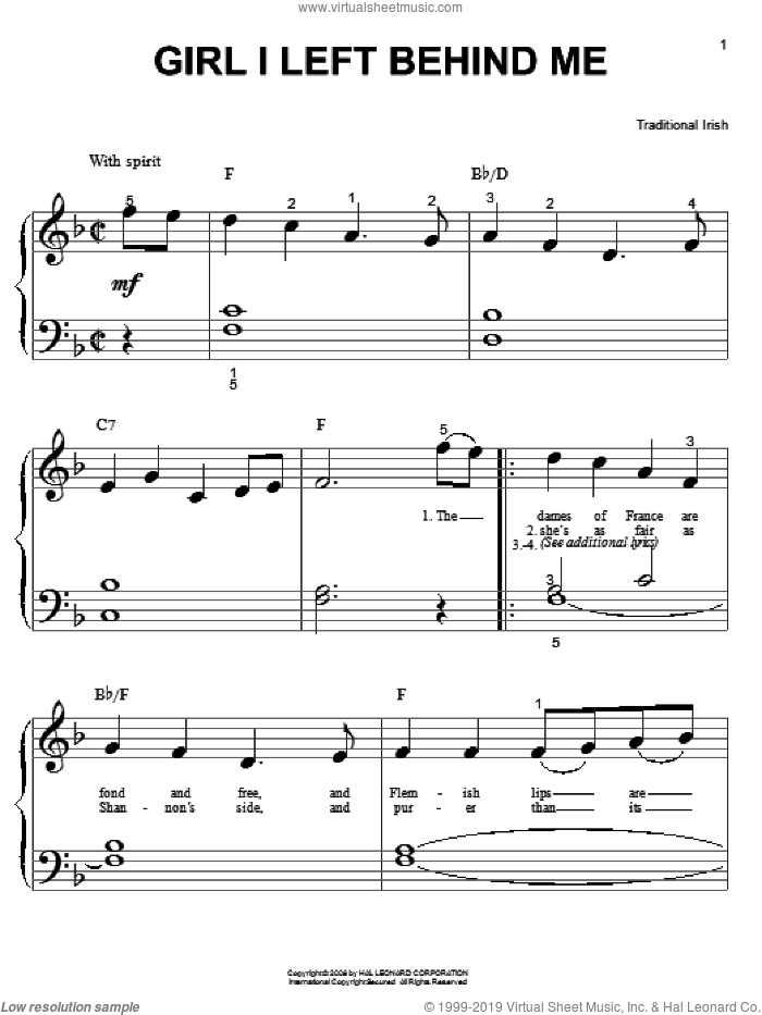 Girl I Left Behind Me sheet music for piano solo (big note book), easy piano (big note book)