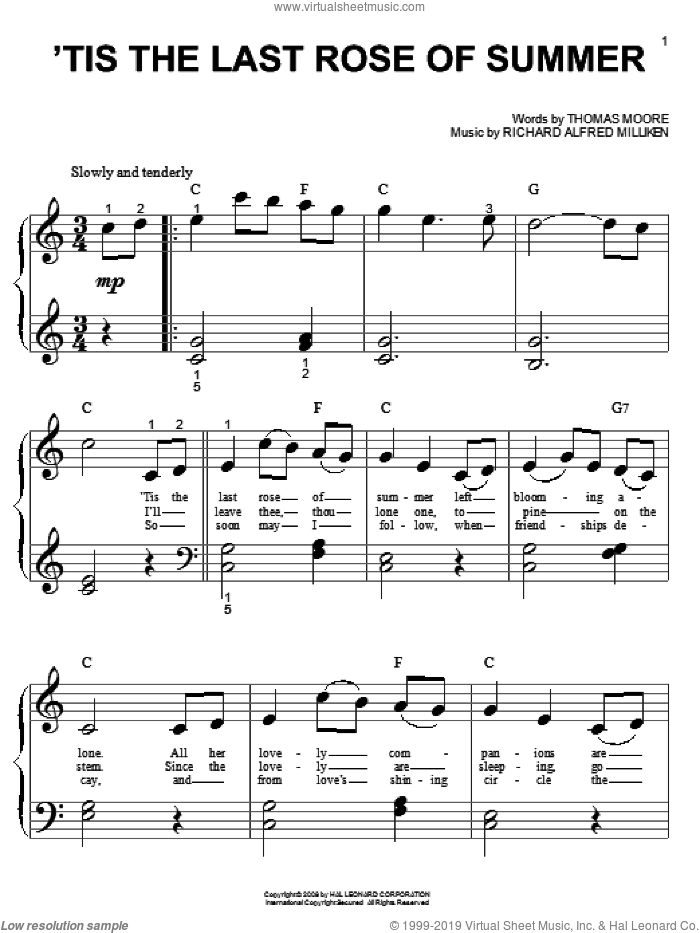 'Tis The Last Rose Of Summer sheet music for piano solo (big note book) by Thomas Moore and Richard Alfred Milliken, easy piano (big note book)